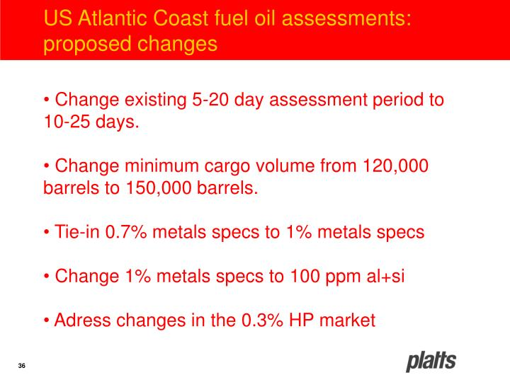 US Atlantic Coast fuel oil assessments: proposed changes