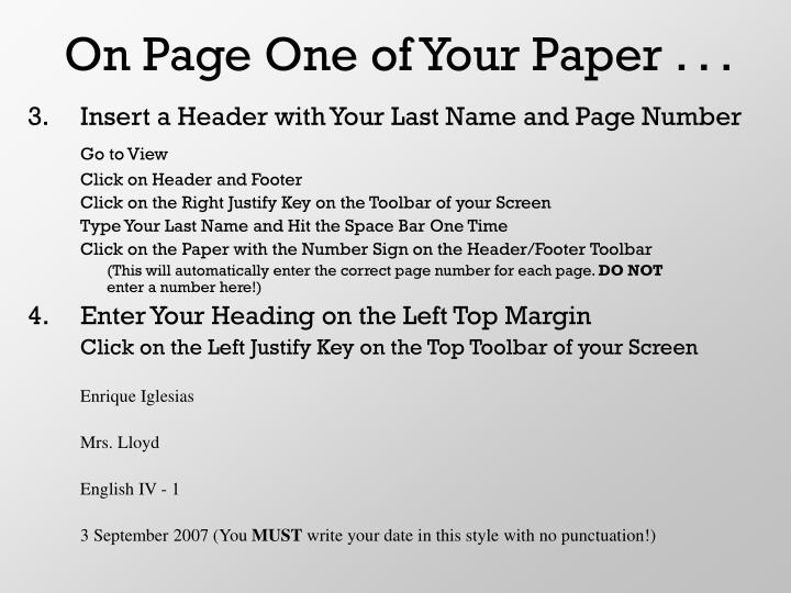 On Page One of Your Paper . . .