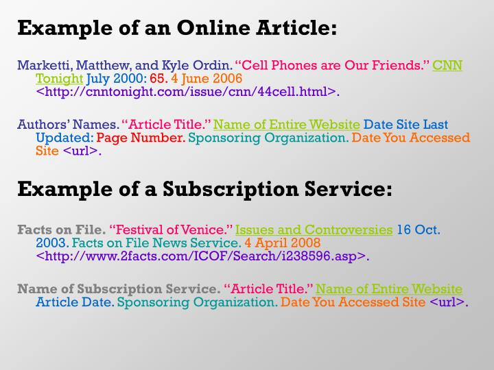 Example of an Online Article: