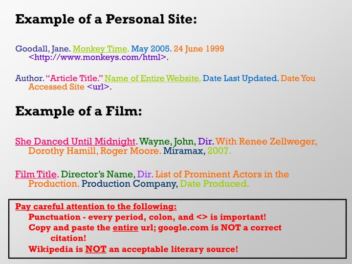 Example of a Personal Site: