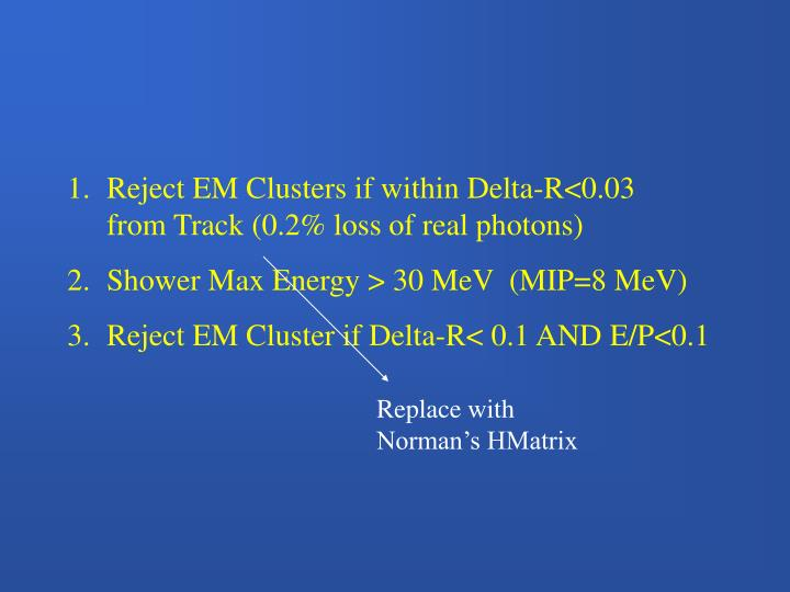 Reject EM Clusters if within Delta-R<0.03      from Track (0.2% loss of real photons)