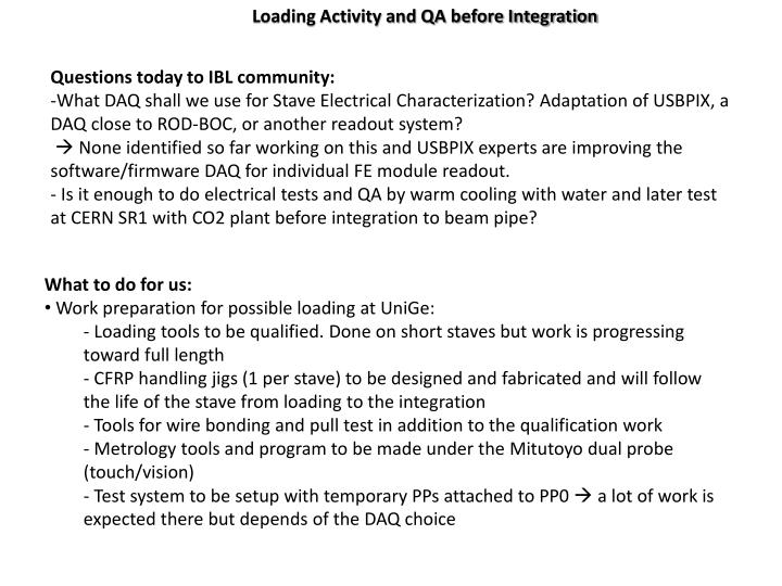 Loading Activity and QA before Integration