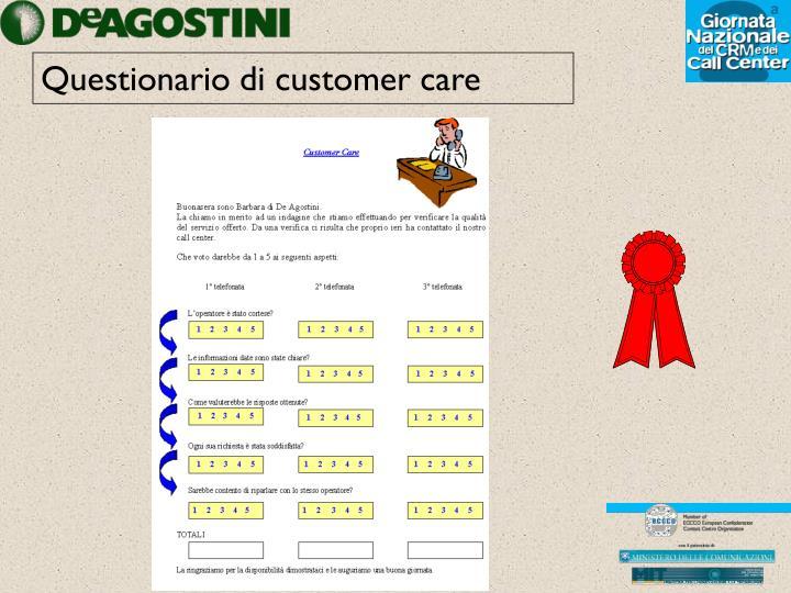 Questionario di customer care
