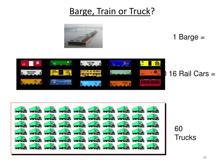 Barge, Train or Truck