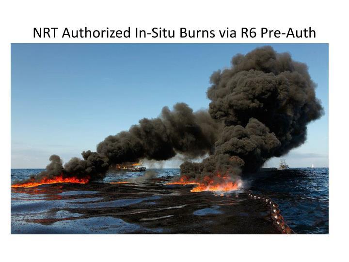 NRT Authorized In-Situ Burns via R6 Pre-Auth