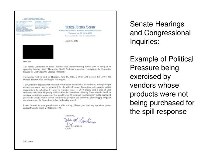 Senate Hearings and Congressional Inquiries: