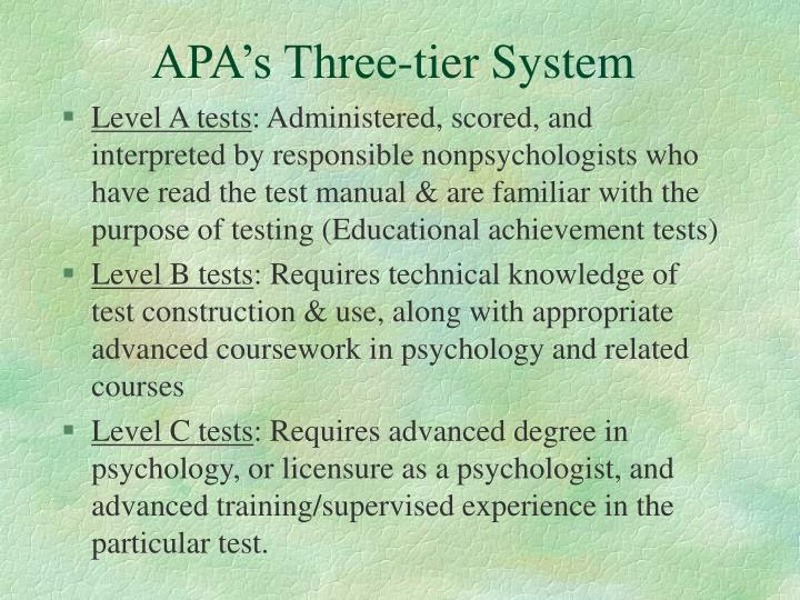 APA's Three-tier System