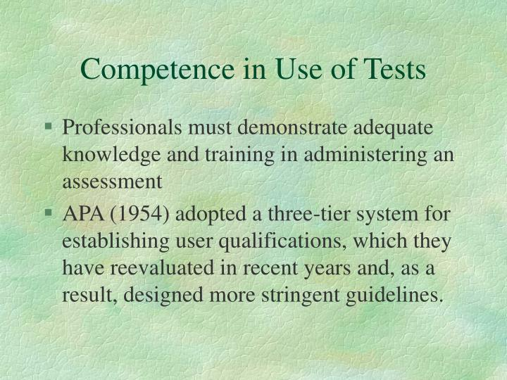 Competence in Use of Tests