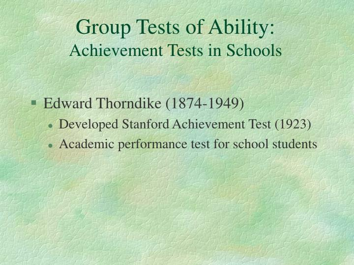 Group Tests of Ability: