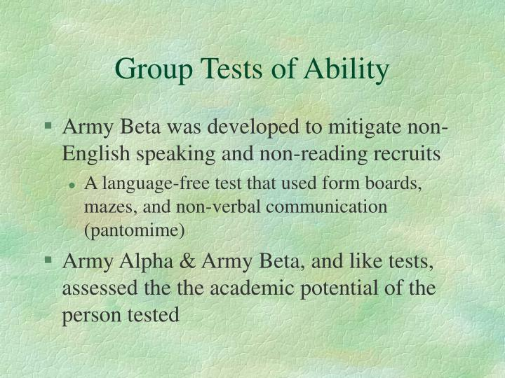 Group Tests of Ability
