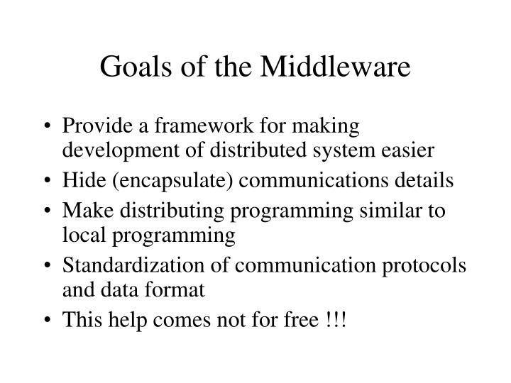 Goals of the Middleware