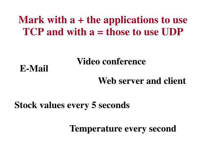 Mark with a + the applications to use TCP and with a = those to use UDP