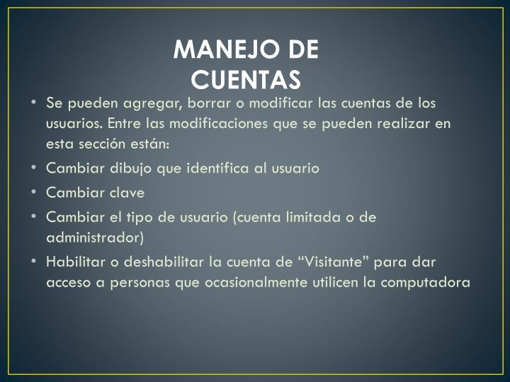 MANEJO DE CUENTAS