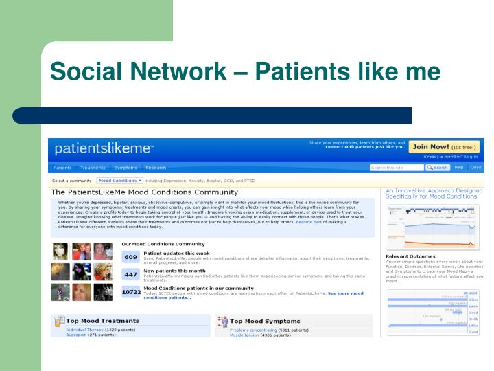 Social Network – Patients like me