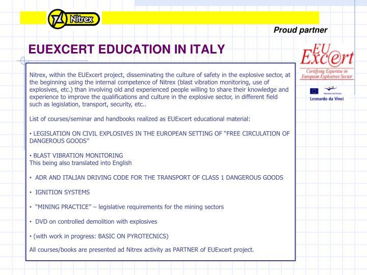 EUEXCERT EDUCATION IN ITALY
