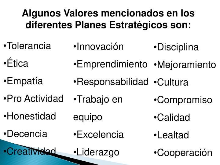 Algunos Valores mencionados en los diferentes Planes Estratégicos son: