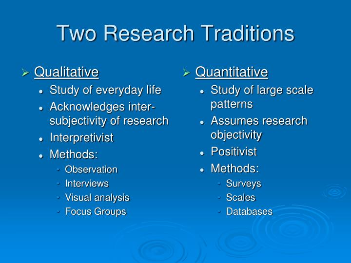 traditional research approaches surveys and qualitative methods essay There are two common research methods have been used: qualitative and quantitative each method has its own pros & cons any of them approach can be implemented to.