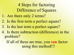 4 steps for factoring difference of squares