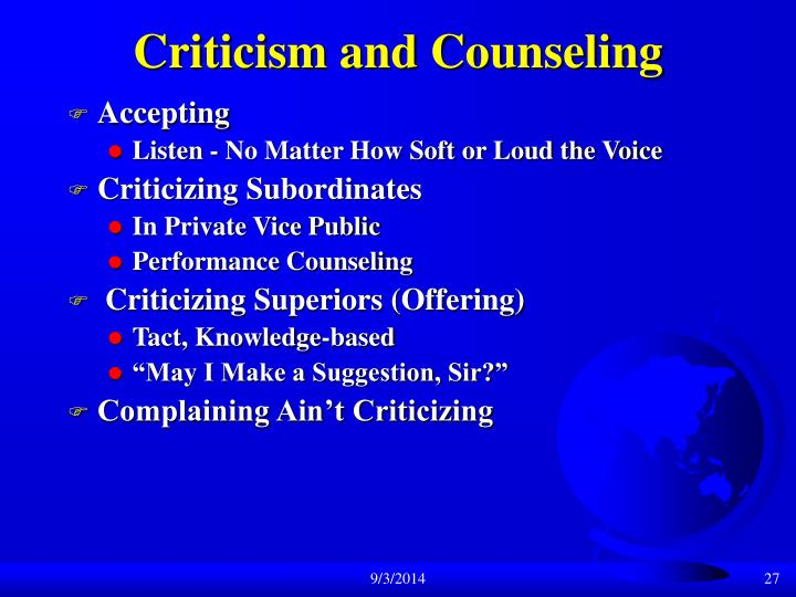 Criticism and Counseling
