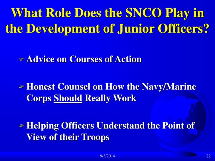 What Role Does the SNCO Play in the Development of Junior Officers?