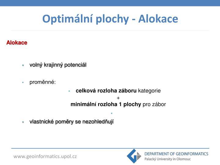 Optimální plochy - Alokace