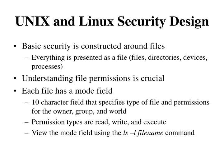 UNIX and Linux Security Design