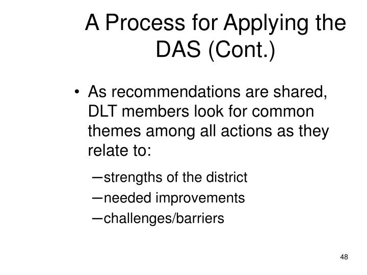 A Process for Applying the DAS (Cont.)