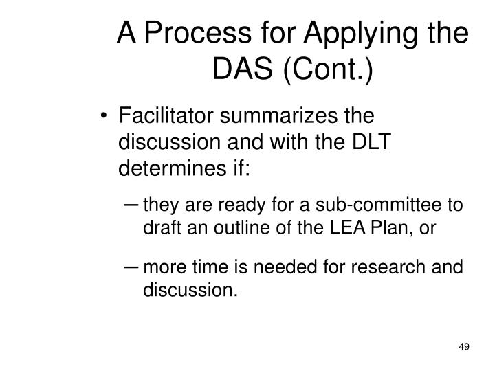 A Process for Applying the DAS