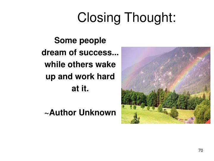 Closing Thought: