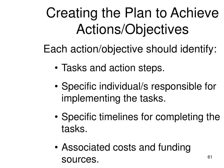 Creating the Plan to Achieve Actions/Objectives