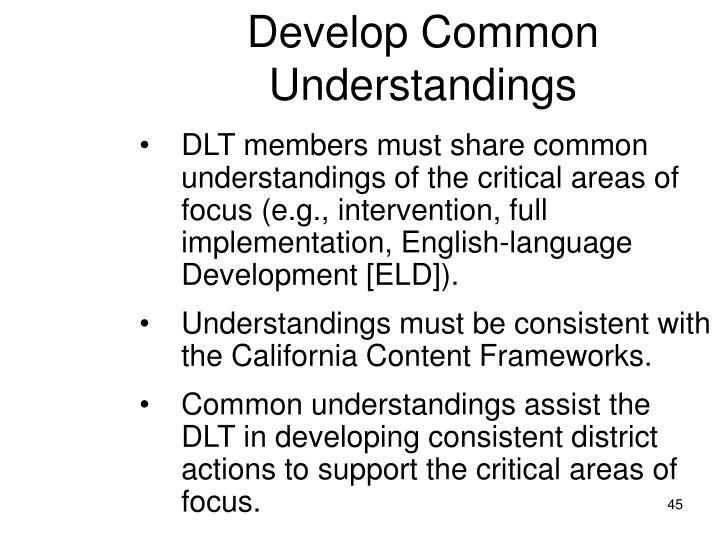 Develop Common Understandings