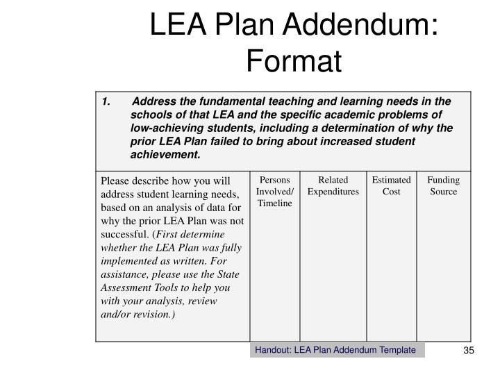 LEA Plan Addendum: Format