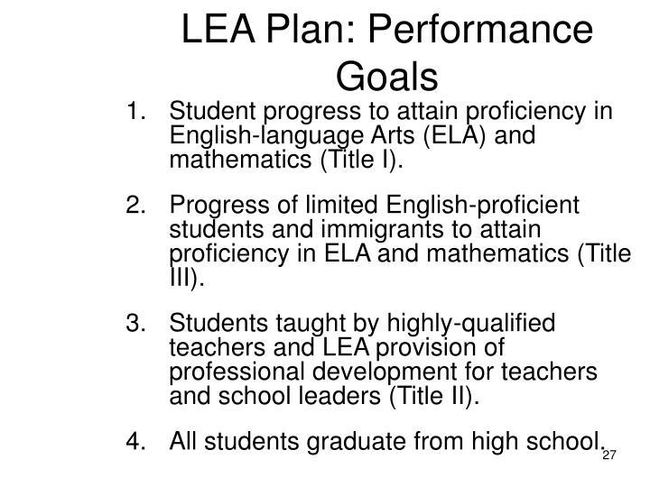 LEA Plan: Performance Goals
