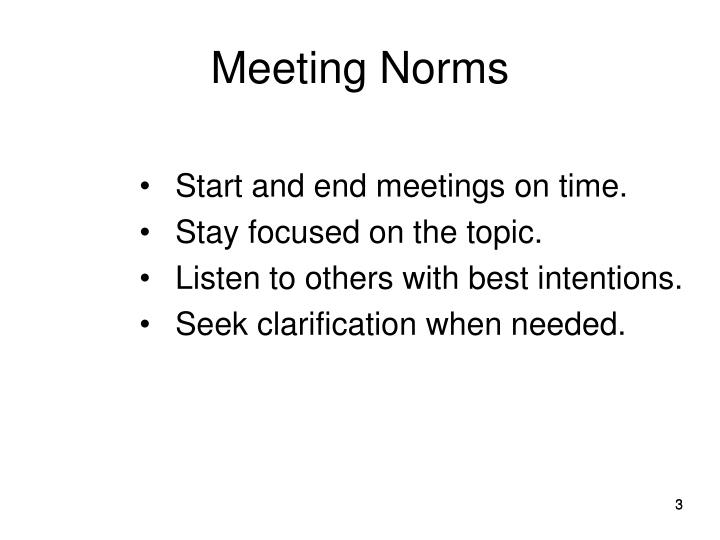 Meeting norms
