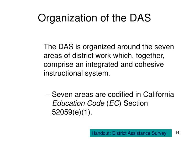 Organization of the DAS