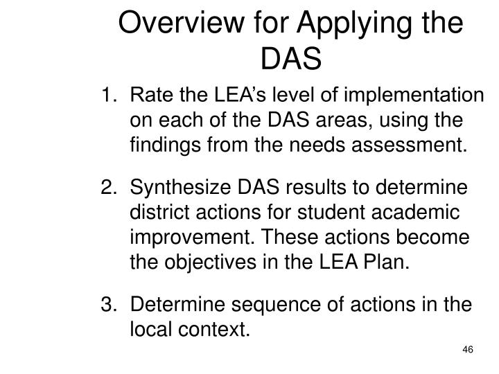 Overview for Applying the DAS