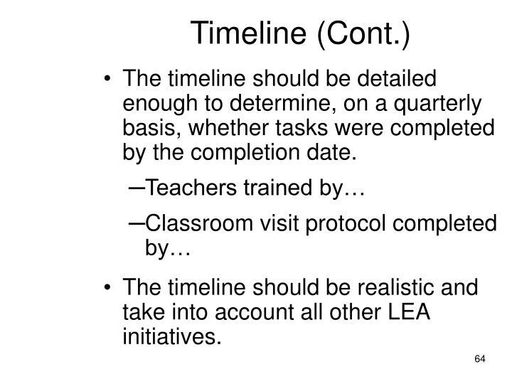 Timeline (Cont.)