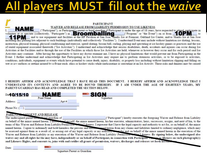 All players  MUST  fill out the