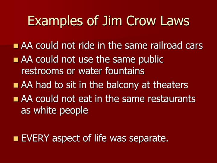 Ppt W Did The Jim Crow Laws Differ For African Americans And South