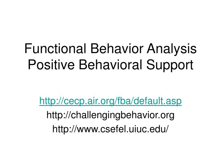 functional behavior analysis positive behavioral support n.