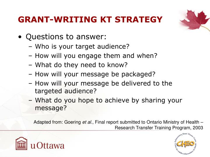 GRANT-WRITING KT STRATEGY