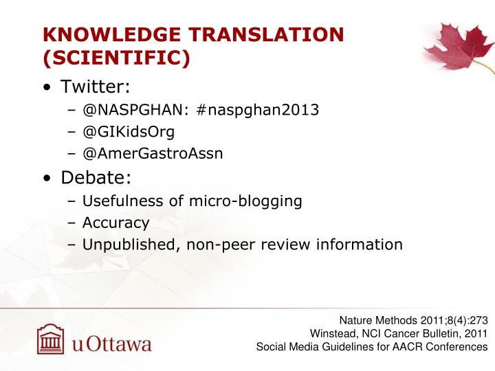 KNOWLEDGE TRANSLATION (SCIENTIFIC)
