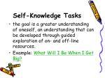 self knowledge tasks