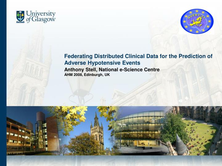 federating distributed clinical data for the prediction of adverse hypotensive events n.