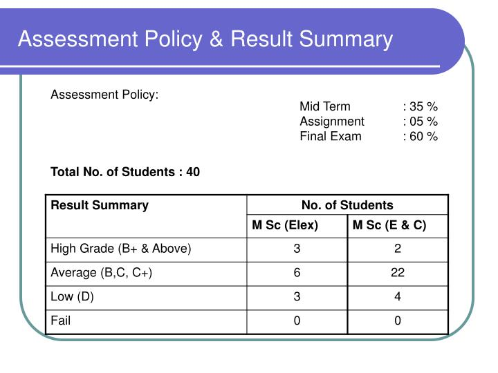 Assessment policy result summary