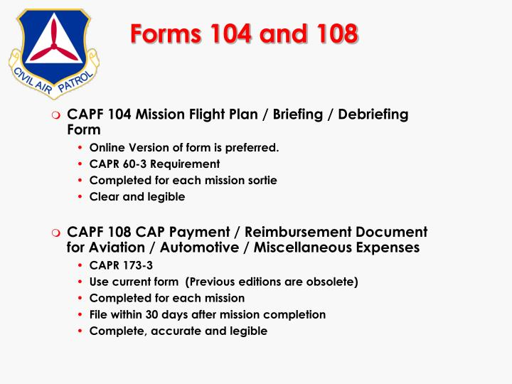 Forms 104 and 108