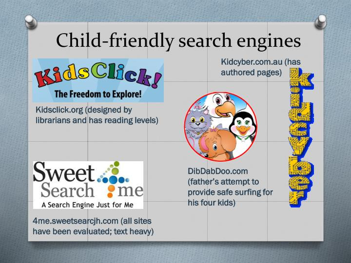Child-friendly search engines