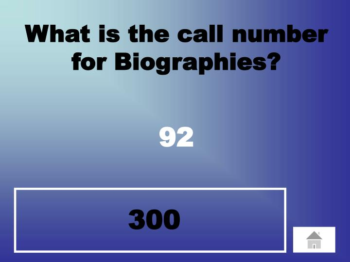 What is the call number  for Biographies?