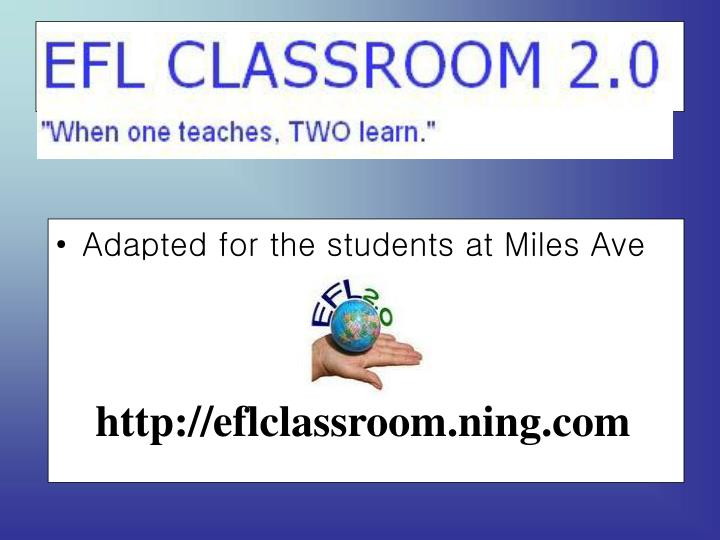 Adapted for the students at Miles Ave