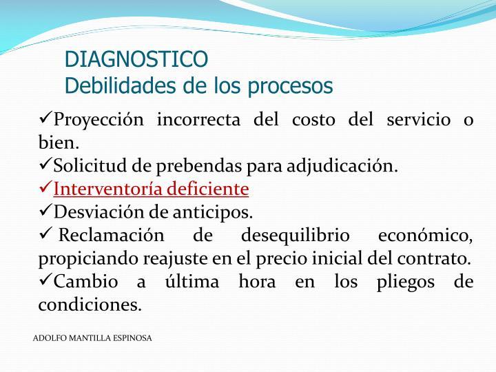 Diagnostico debilidades de los procesos
